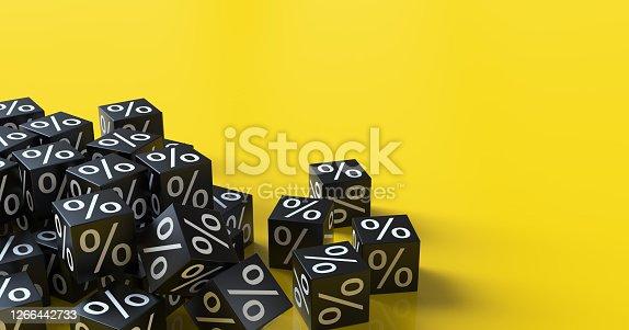 3d black discount cubes. Sale concept.