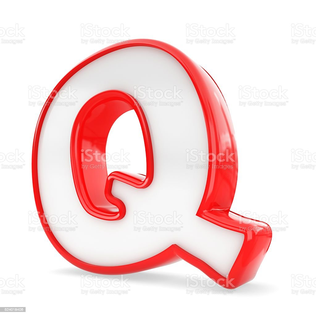 3d black plastic letter Q isolated white background. stock photo