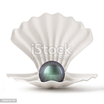 istock 3d Black Shell with pearl isolated on white background 530045787