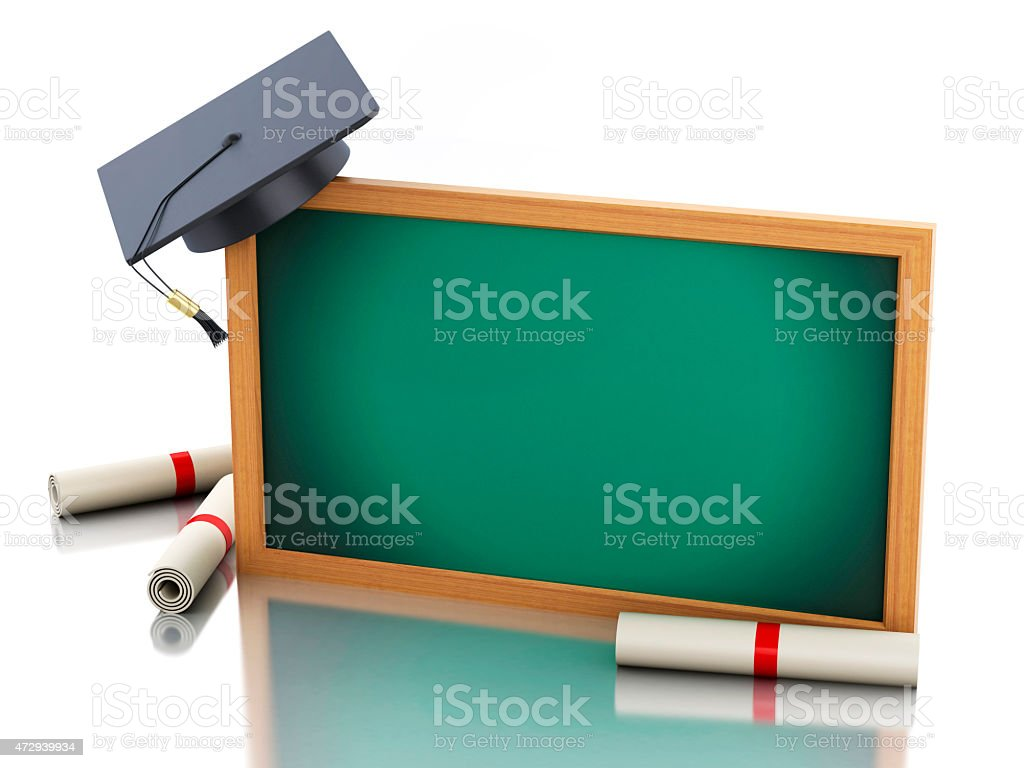 3d blackboard with diploma certificate and graduation cap. stock photo