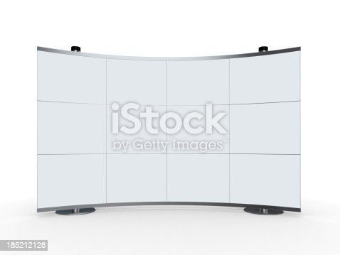 istock 3d blank advertisement stand on white background 185212128