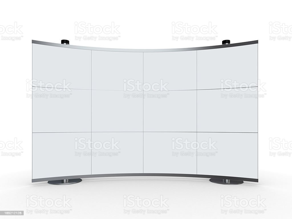 3d blank advertisement stand on white background stock photo