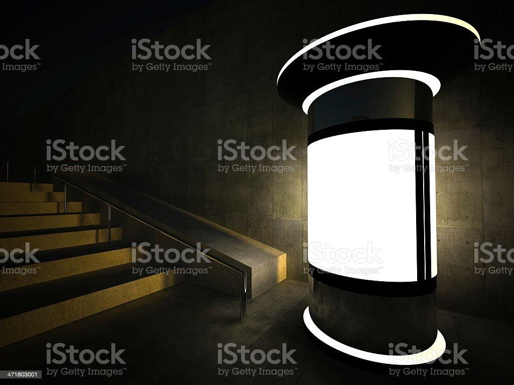 3d blank advertising column at night royalty-free stock photo
