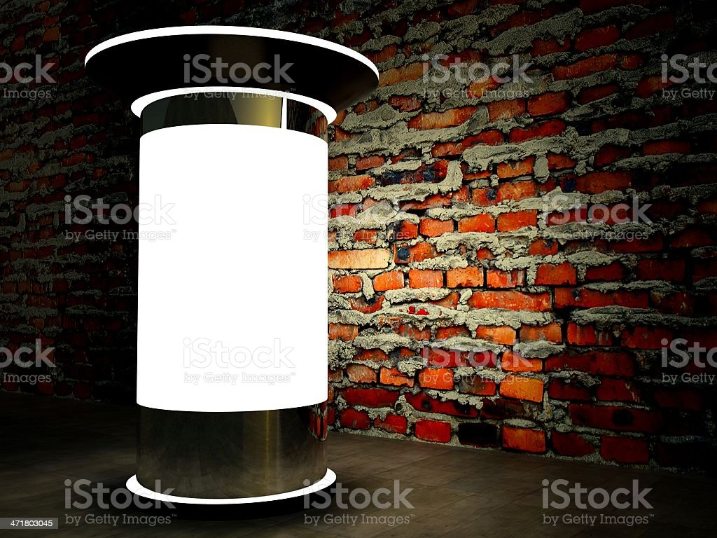 3d blank advertising column on wall at night royalty-free stock photo