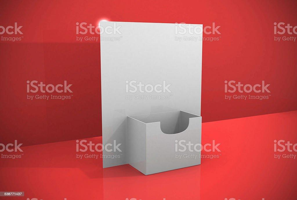 3d blank brochure holder template stock photo