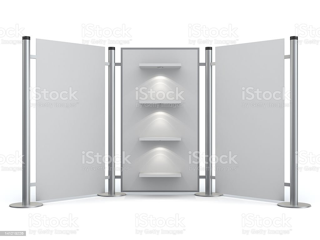 3d blank display stand with shelves royalty-free stock photo