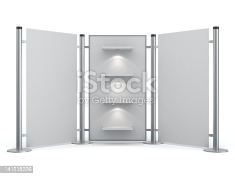 175439992istockphoto 3d blank display stand with shelves 141215226