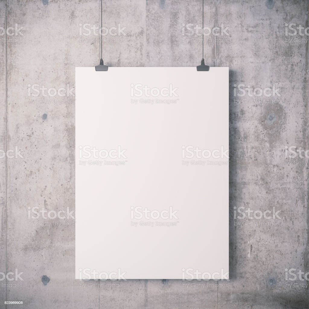 3d blank frame poster on concrete wall stock photo
