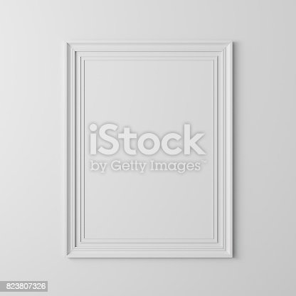 istock 3d blank frame poster on white wall 823807326