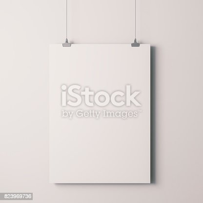 istock 3d blank frame poster on white wall 823969736