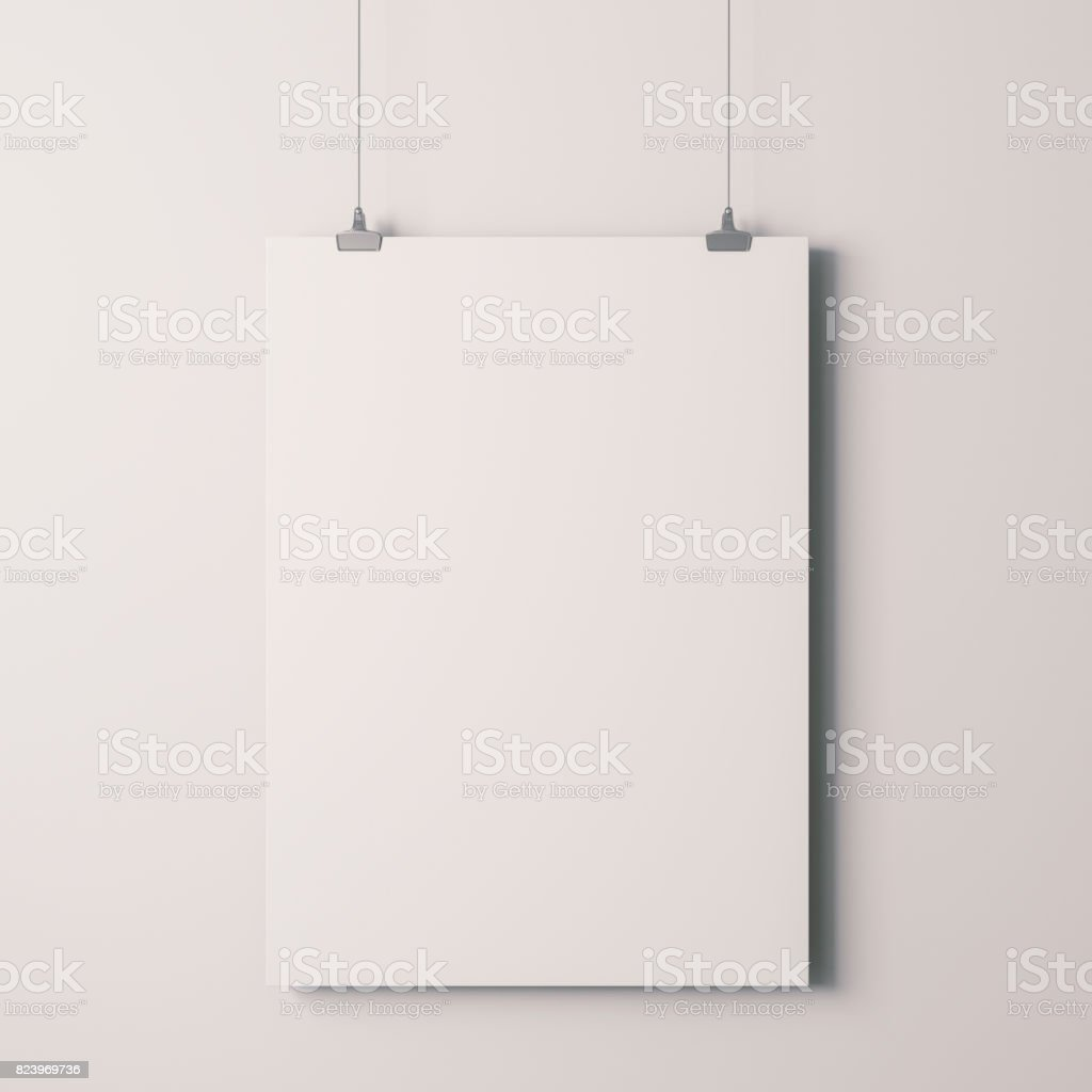 3d blank frame poster on white wall stock photo