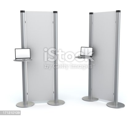 175439992istockphoto 3d blank  information stand with laptop 171310109