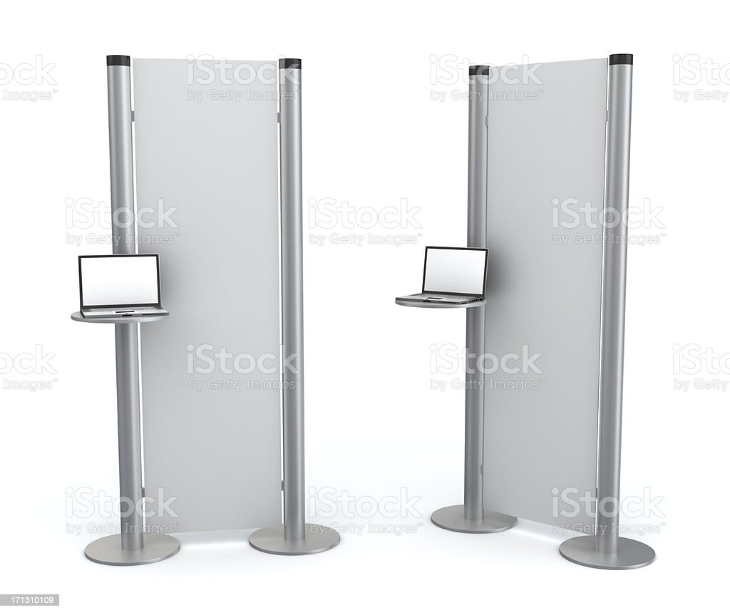 3d blank  information stand with laptop stock photo