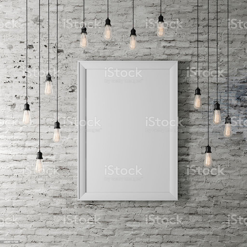 3d blank poster and light bulbs stock photo
