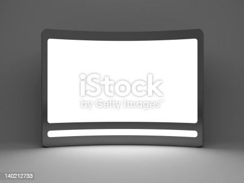 istock 3d blank  standing advertising digital panel 140212733