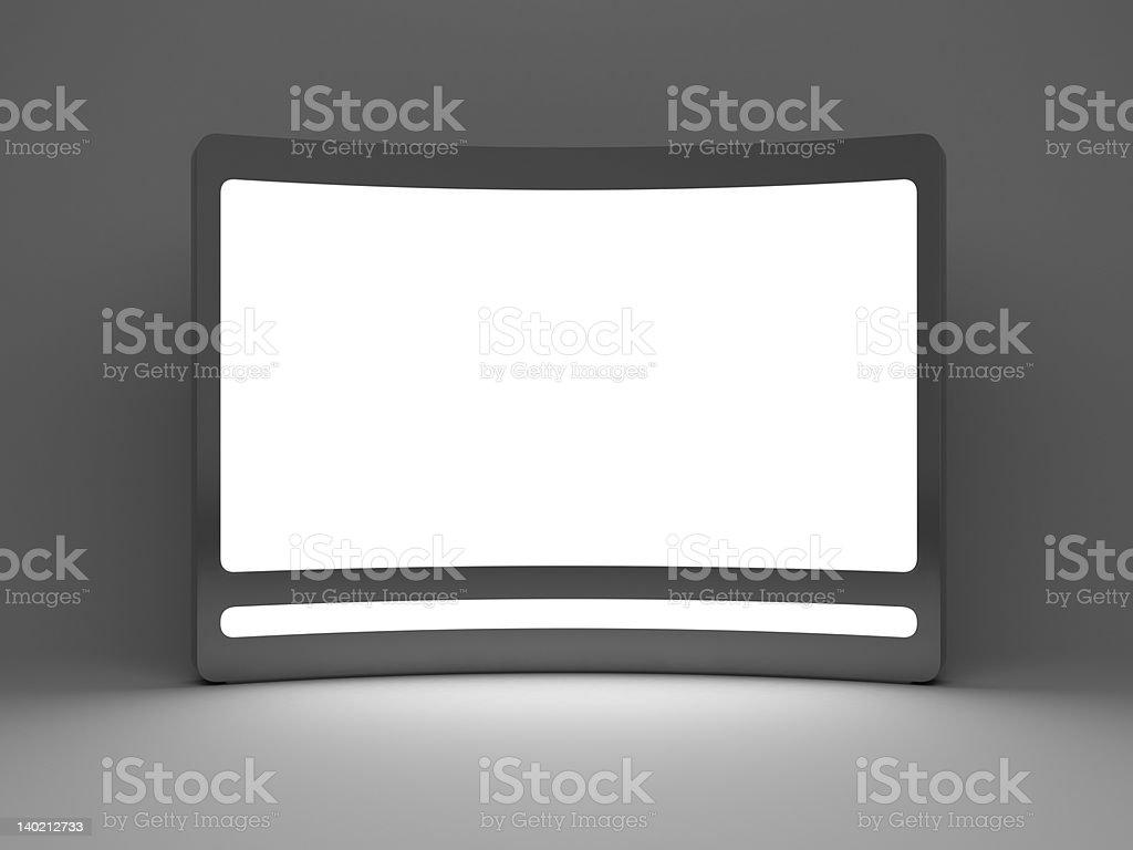 3d blank  standing advertising digital panel stock photo