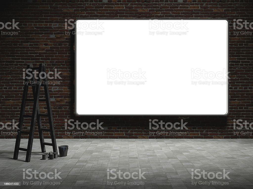 3 d Panneau d'affichage publicitaire rue vide sur mur de briques de nuit - Photo