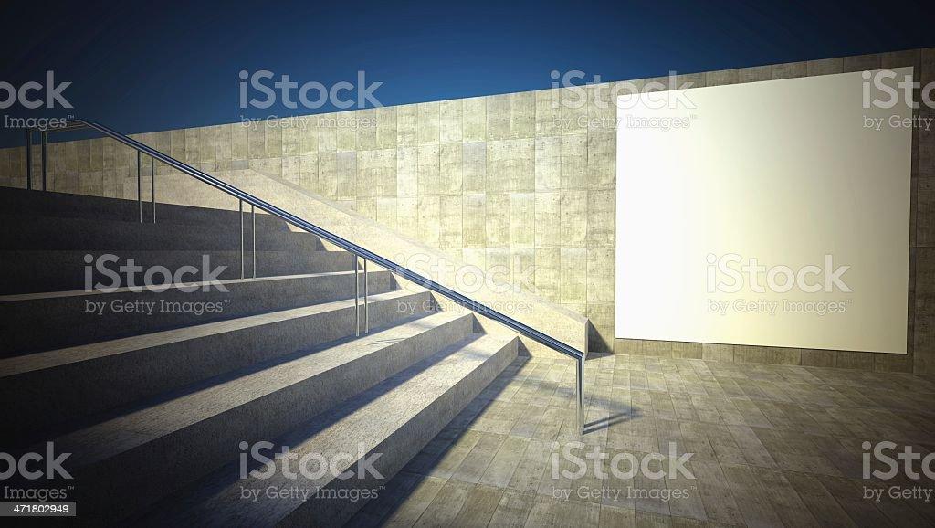 3d blank street advertising billboard, wall royalty-free stock photo