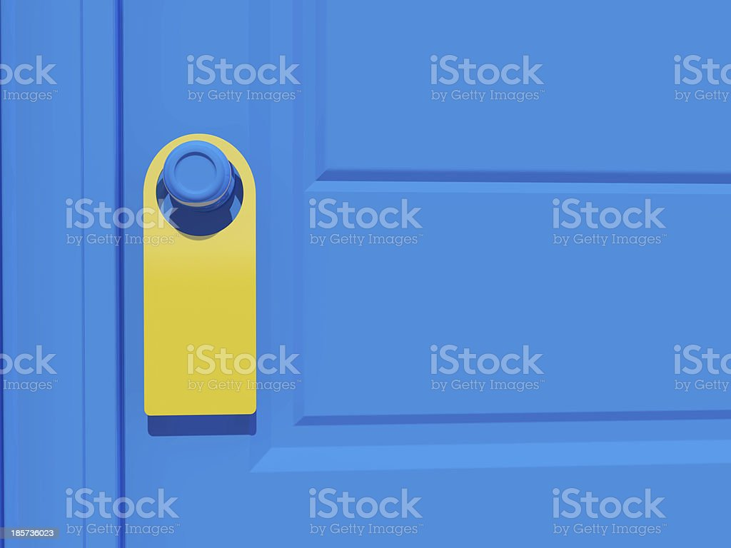 3d blank tag on the door handle stock photo