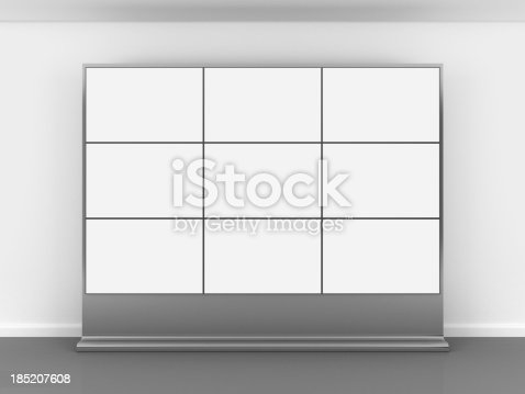 istock 3d blank video wall 185207608
