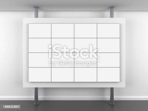 istock 3d blank video wall stand 186830952