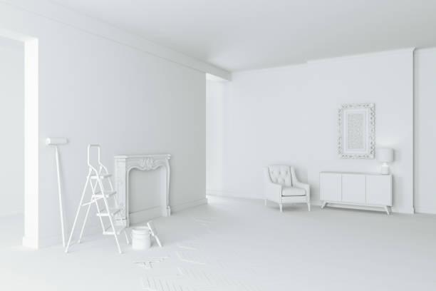 3 d 空白のインテリア部屋、装飾の進行状況 ストックフォト