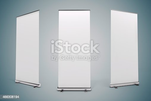 istock 3d blank white rull-up baneer 466308194