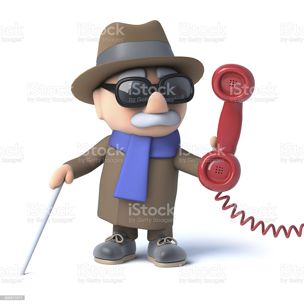 3d Blind man answers the phone royalty-free stock photo