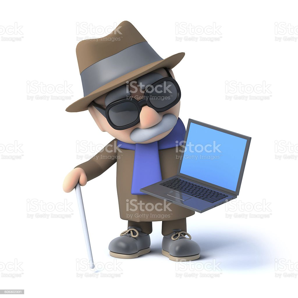 3d Blind man has a laptop pc royalty-free stock photo