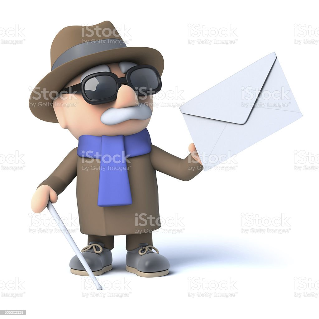3d Blind man has mail royalty-free stock photo