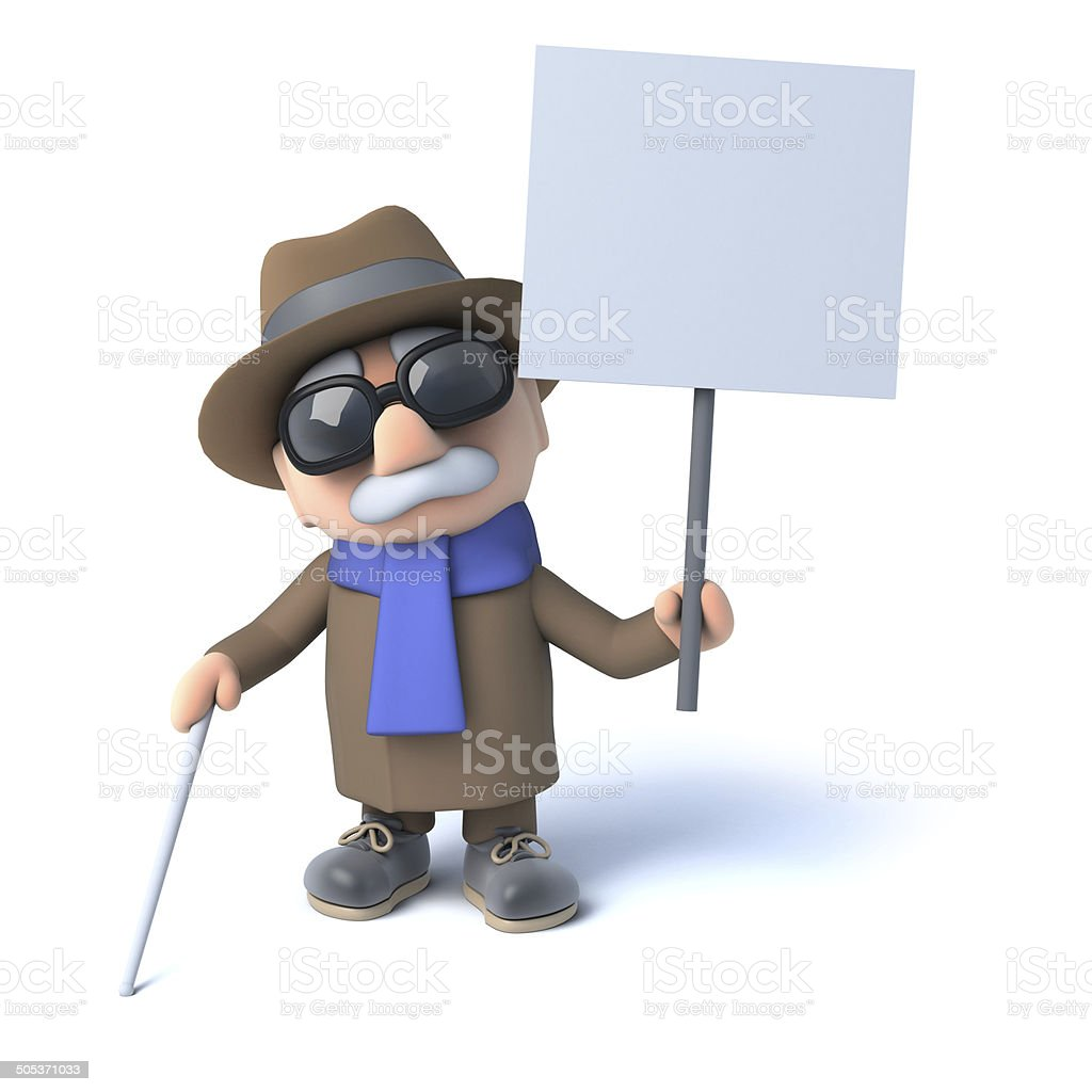 3d Blind man holding a placard royalty-free stock photo