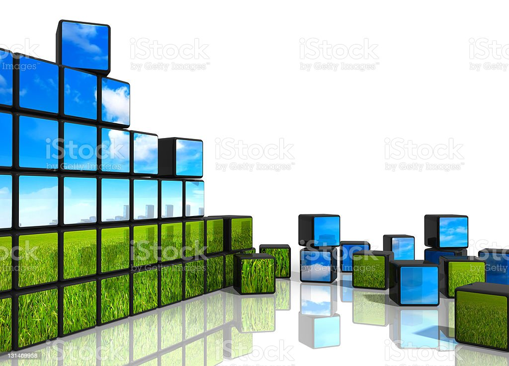 3d blocks with image of summer landscape stacked royalty-free stock photo
