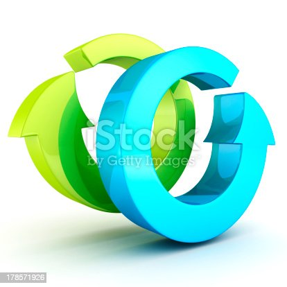 istock 3d blue and green recycle arrows icon on white 178571926