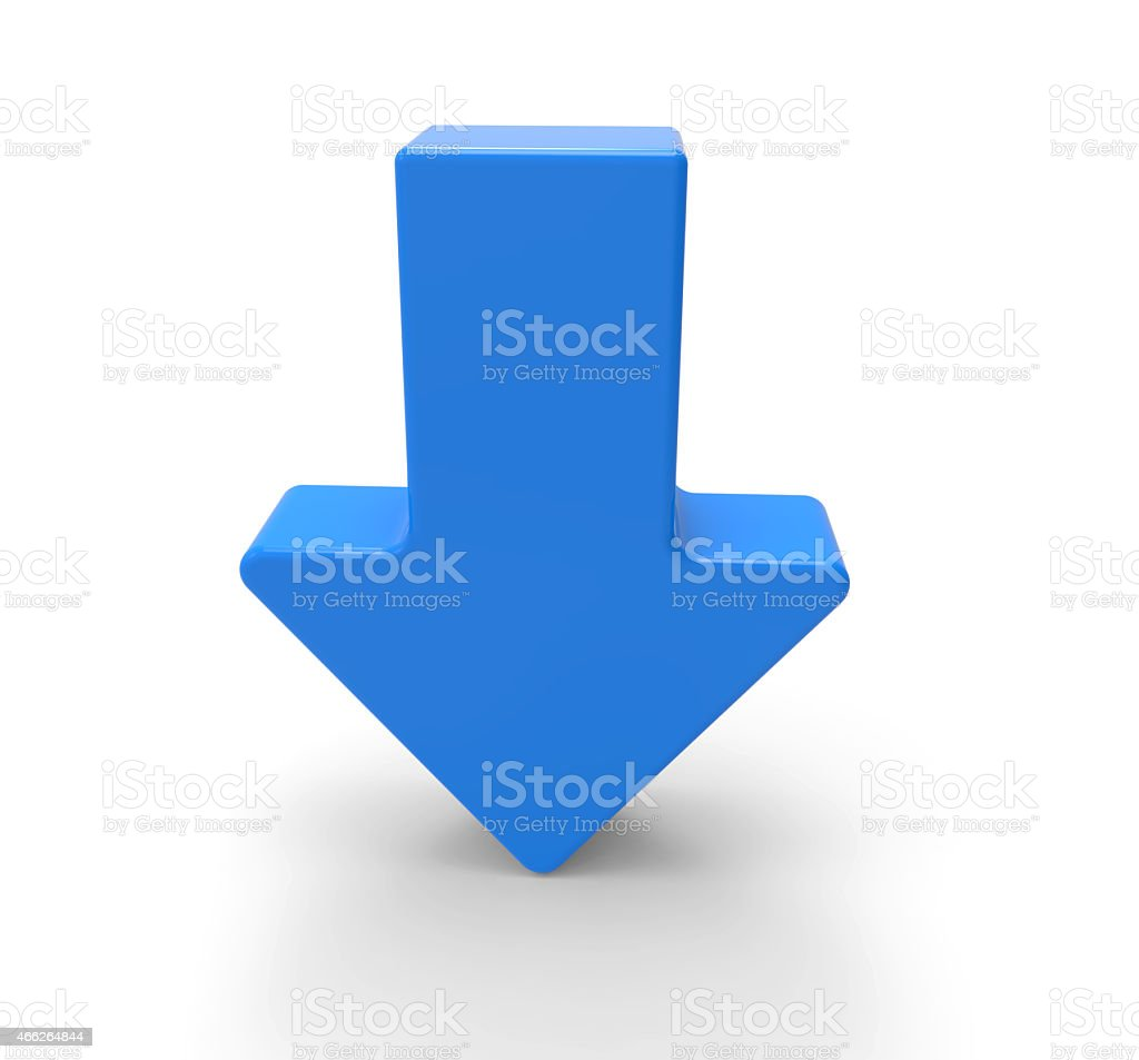 3d blue arrow, downwards stock photo
