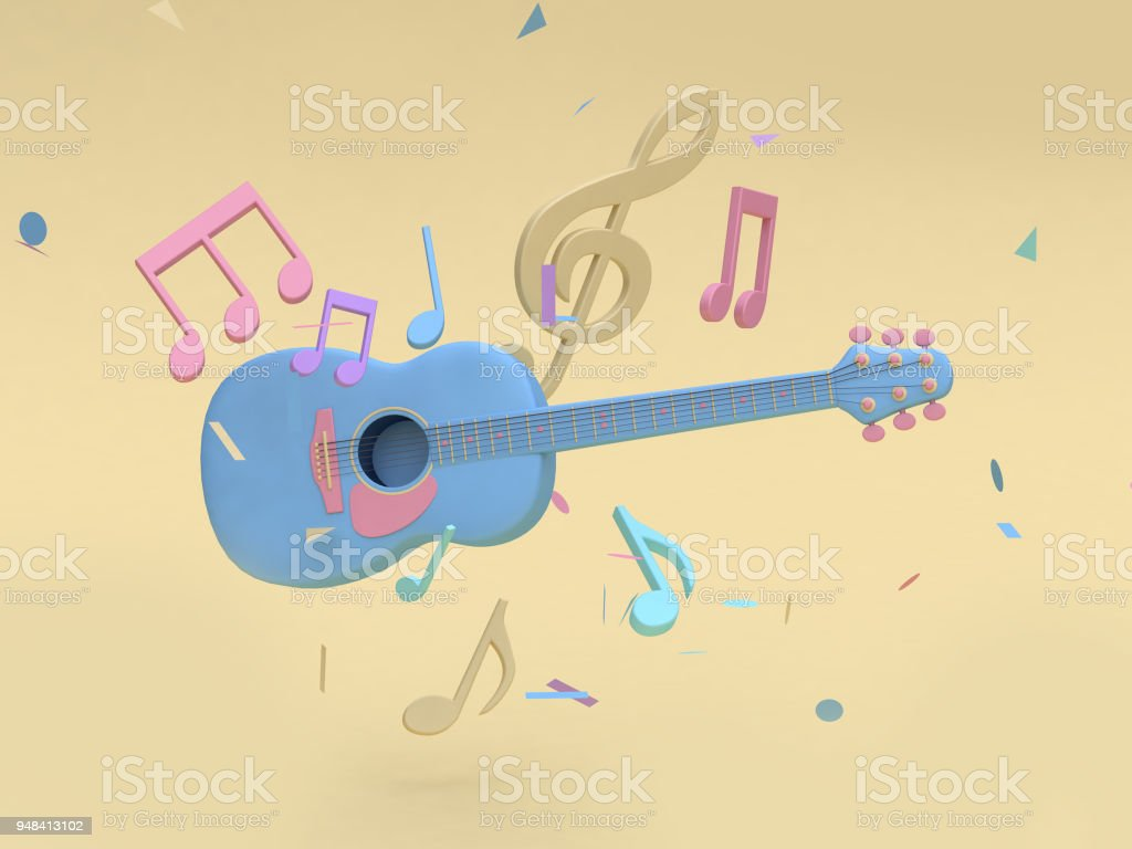 Guitarra Azul 3d Con Muchos Nota De Música Estilo De Dibujos