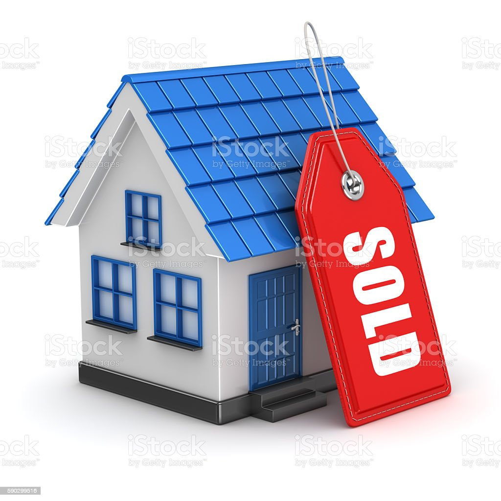 3d blue house and sold tag royaltyfri bildbanksbilder