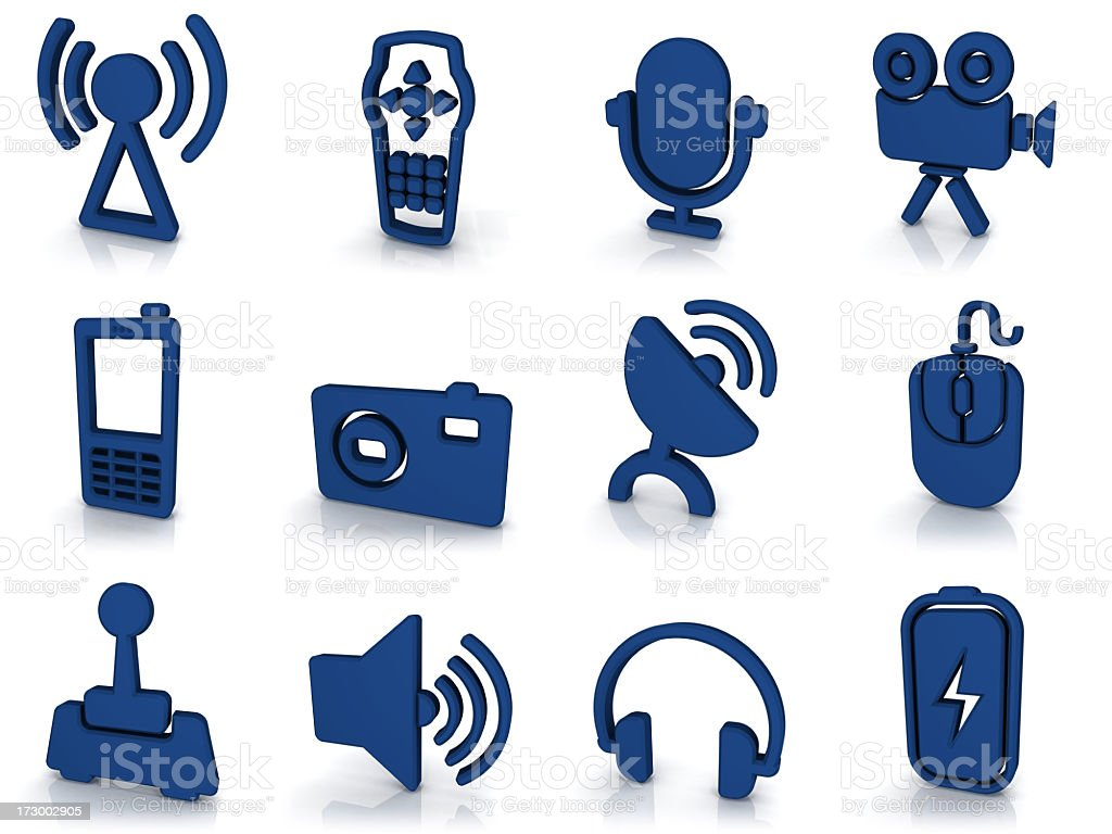 3d blue icons - equipment royalty-free stock photo