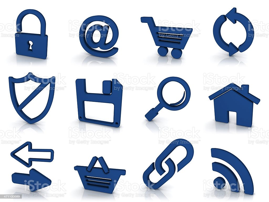 3d blue icons - internet royalty-free stock photo