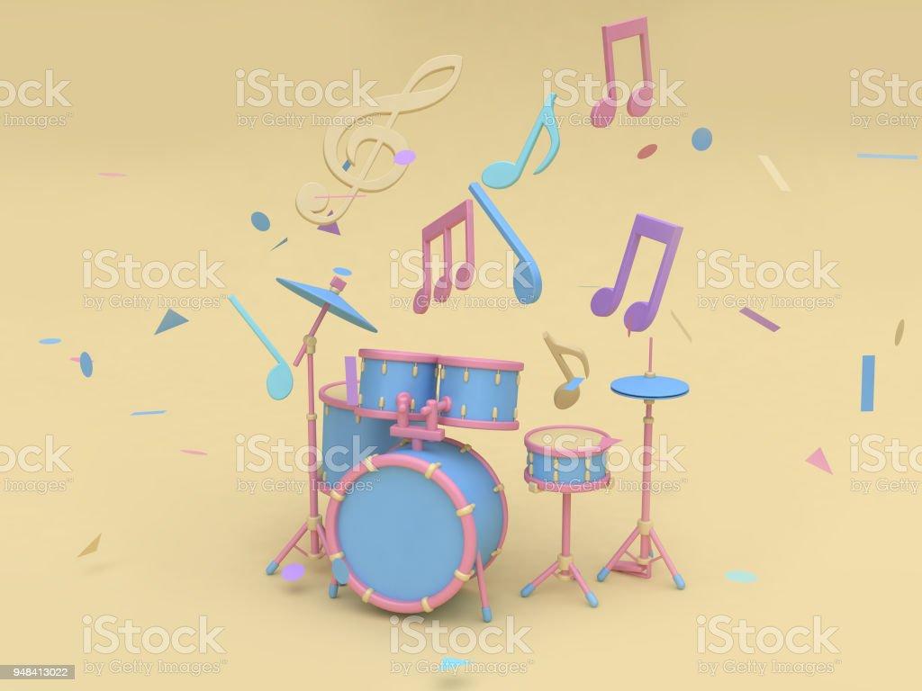 3d Bluepink Radio Drum Set With Many Music Notekey Sol Cartoon Style ...
