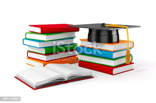 istock 3d books and student cap on white background 491223862