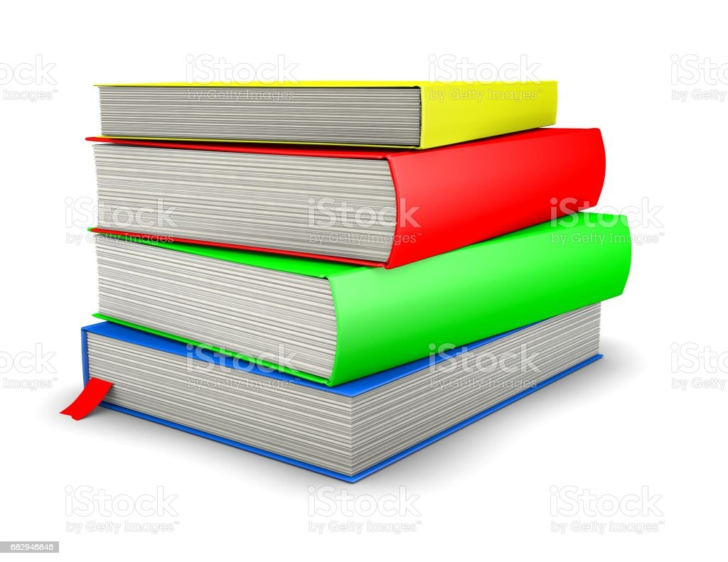 3d books stacked with colorful covers isolated on white background royalty-free stock photo