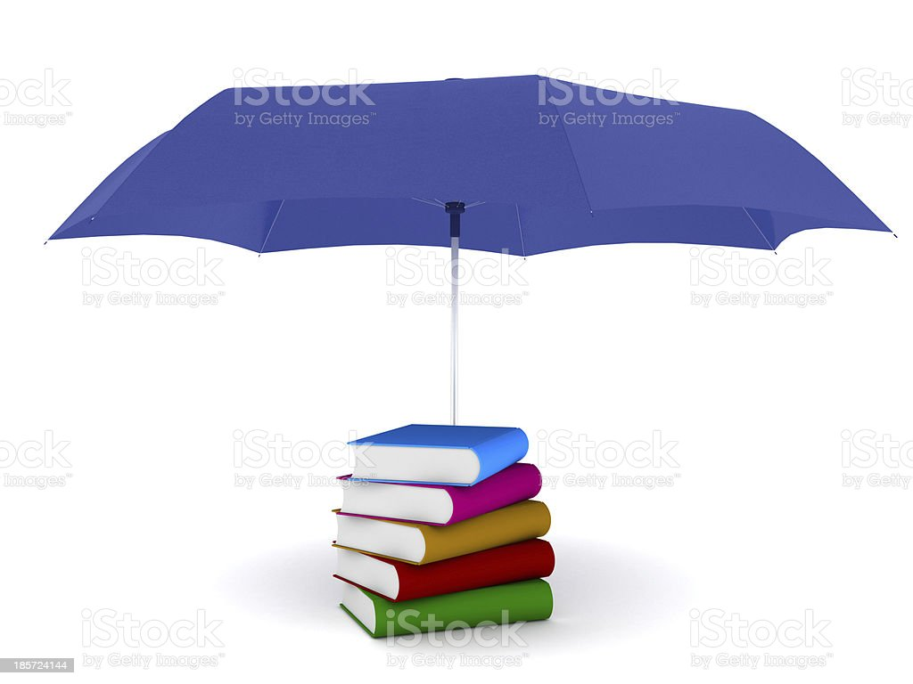 3d books under umbrella royalty-free stock photo