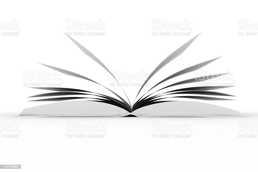 3d books with pages , isolated on white stock photo