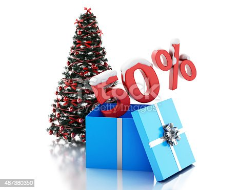 istock 3d box with 50 percent text and christmas tree 487380350