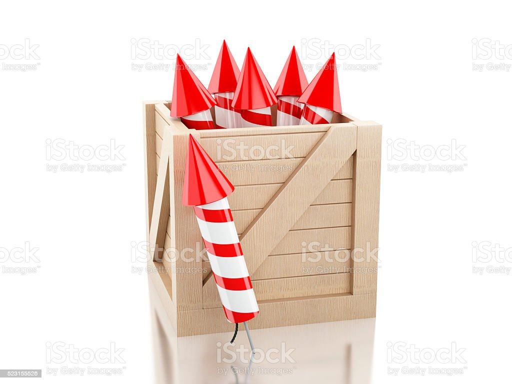 3d Box with fireworks stock photo