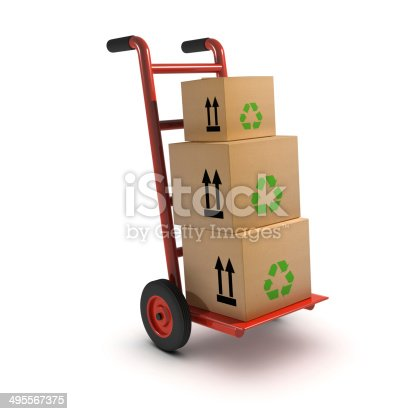 istock 3d Boxes on handcart 495567375
