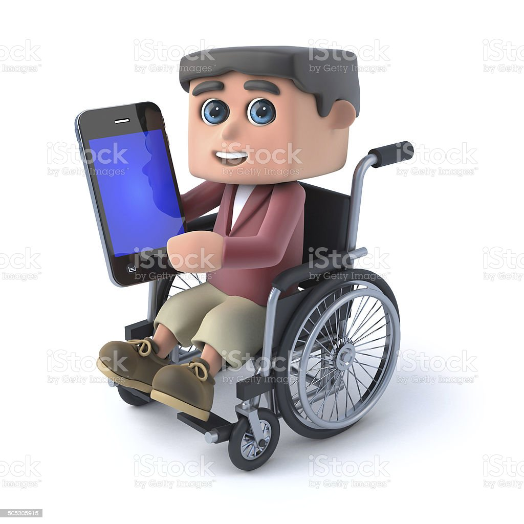 3d Boy in a wheelchair using a smartphone royalty-free stock photo