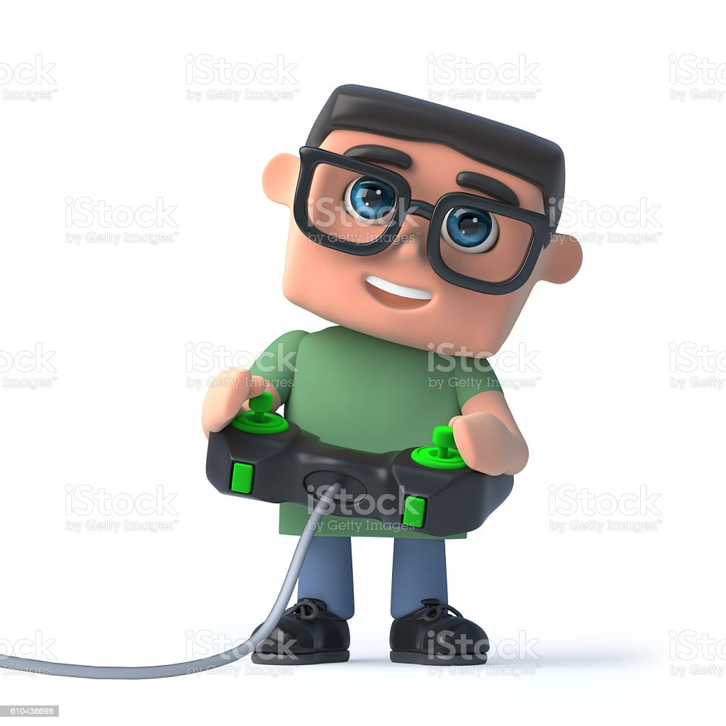 3d Boy in glasses plays a video game stock photo