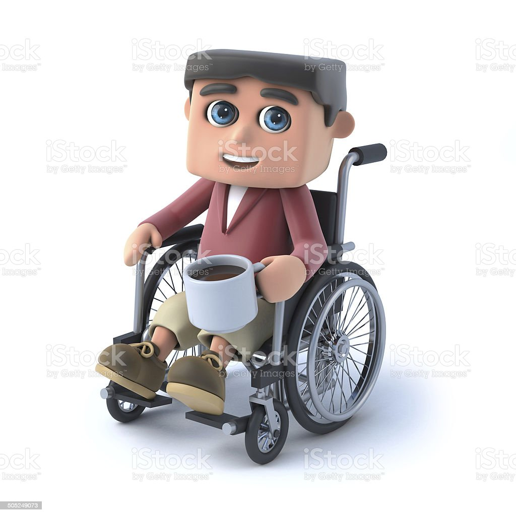3d Boy in wheelchair has a coffee break royalty-free stock photo