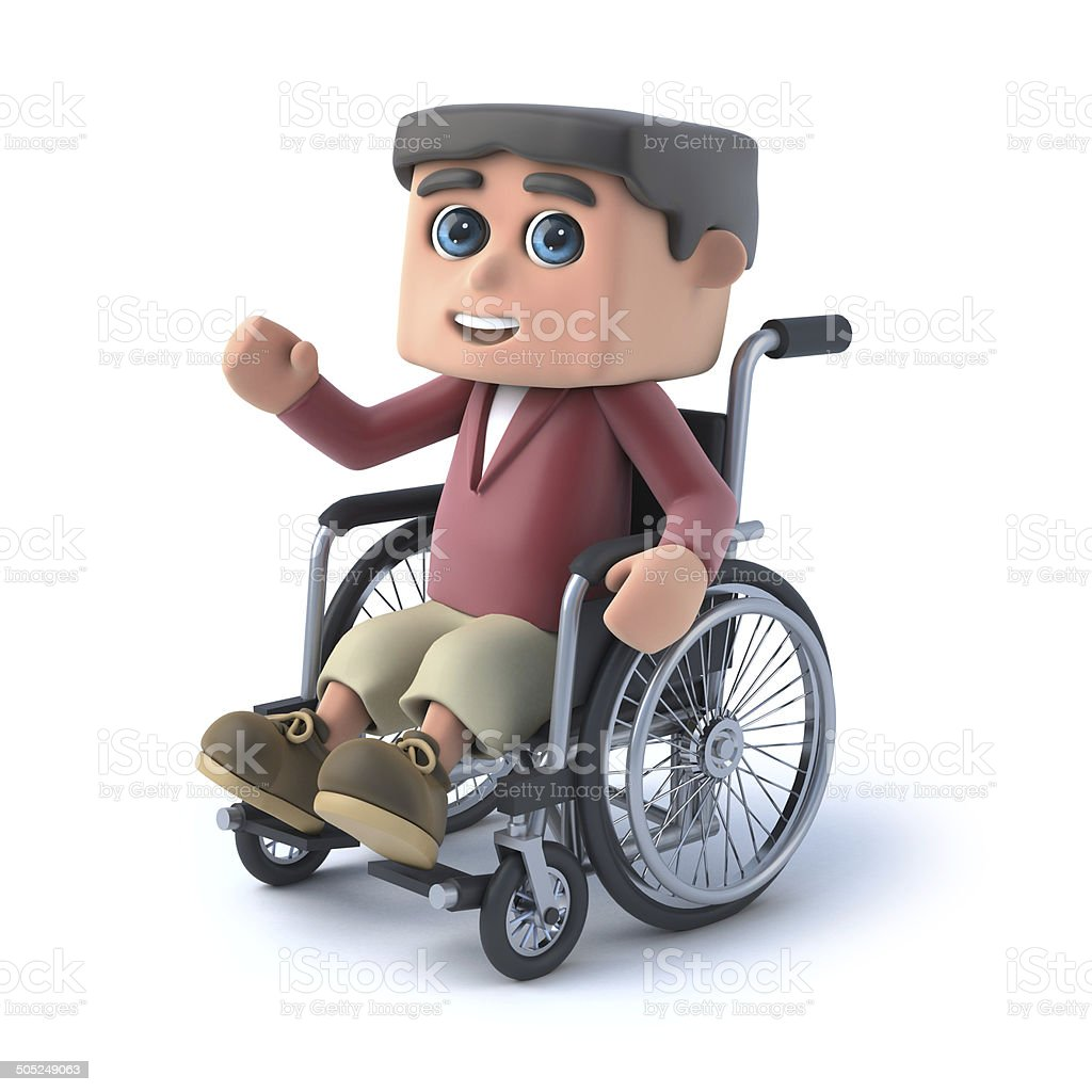 3d Boy in wheelchair is waving hello royalty-free stock photo